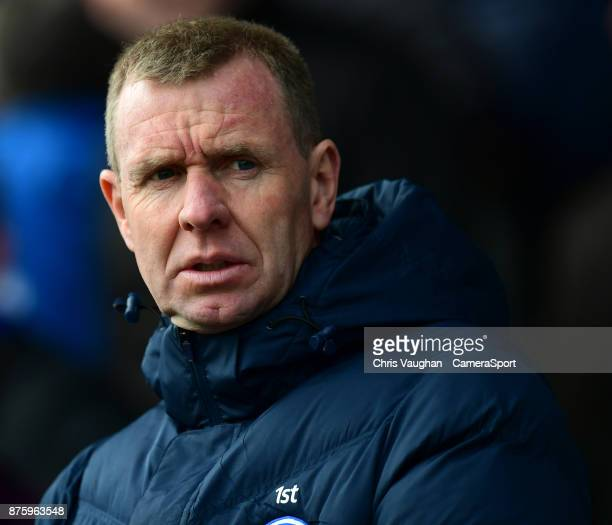 Peterborough United's assistant manager David Oldfield during the Sky Bet League One match between Peterborough United and Blackpool at ABAX Stadium...