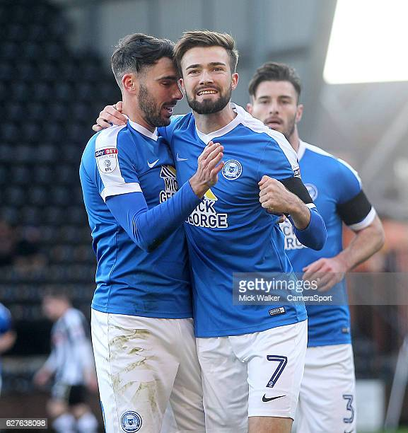 Peterborough United's Gwion Edwards celebrates scoring his sides second goal during the Emirates FA Cup Second Round match between Notts County and...