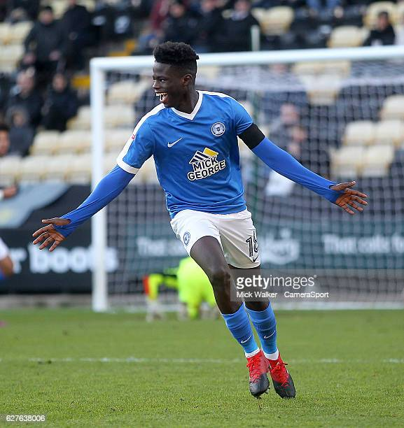 Peterborough United's Leo DaSilvaLopes celebrates scoring his sides first goal during the Emirates FA Cup Second Round match between Notts County and...