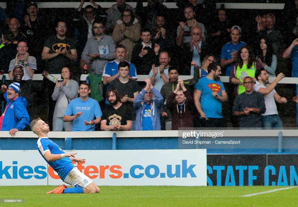 Peterborough United's Marcus Maddison celebrates scoring his sides second goal (2-1) during the Sky Bet League One match between Peterborough United and Swindon Town at ABAX Stadium on September 3, 2016 in Peterborough, England.