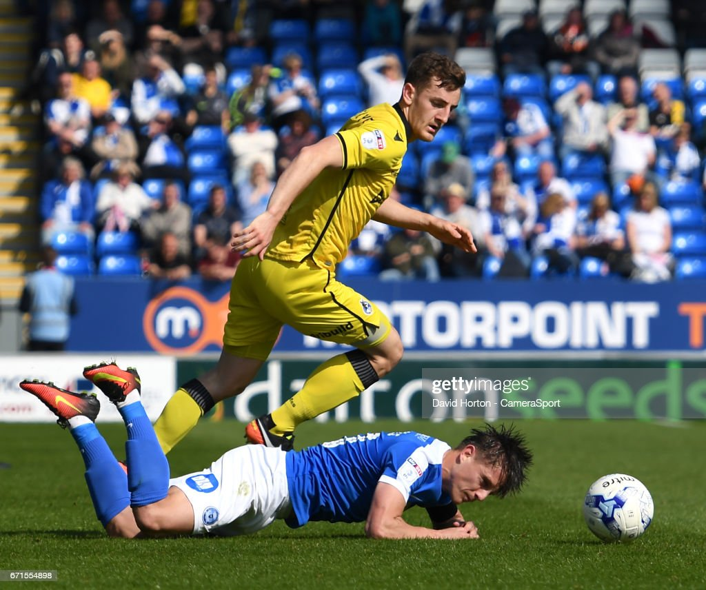 Peterborough United's Tom Nichols is brought down tackling Bristol Rovers' Tom Lockyer during the Sky Bet League One match between Peterborough and Bristol Rovers at ABAX Stadium on April 22, 2017 in Peterborough, England.