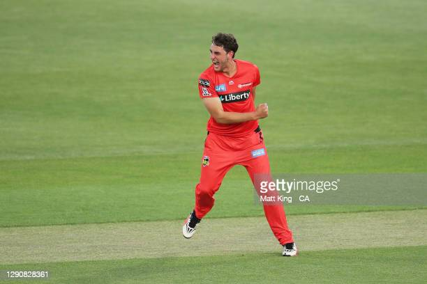 PeterHatzoglou of the Renegades celebrates taking the wicket of Mitchell Marsh of the Scorchers during the Big Bash League match between the...