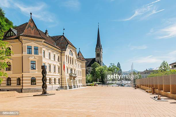 peter-kaiser-platz square and the old parliament building in vaduz, liechtenstein - vaduz stock pictures, royalty-free photos & images