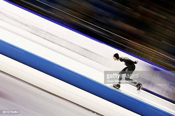 Peter Michael of New Zealand competes in the 5000m mens race during day two of the ISU World Cup Speed Skating held at Thialf Ice Arena on December...