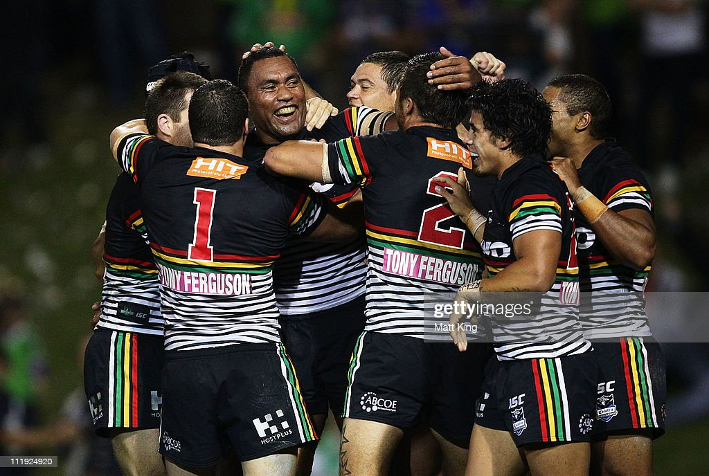 Petero Civoniceva (C) of the Panthers celebrates with team mates after scoring a try in the final seconds during the round five NRL match between the Penrith Panthers and the Canberra Raiders at Centrebet Stadium on April 9, 2011 in Sydney, Australia.