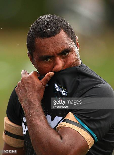 Petero Civoniceva of the Panthers looks dejected after the round one NRL match between the Penrith Panthers and the Newcastle Knights at Centrebet...