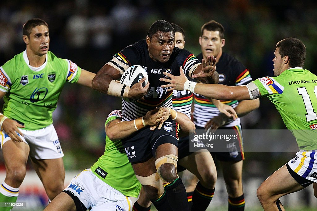 Petero Civoniceva of the Panthers takes on the defence during the round five NRL match between the Penrith Panthers and the Canberra Raiders at Centrebet Stadium on April 9, 2011 in Sydney, Australia.