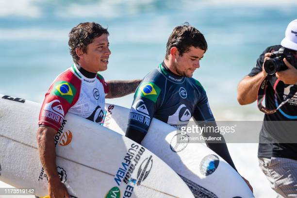 Peterson Crisanto and Deivid Silva both of Brazil placed first and third in Heat 11 of Round 1 of the 2019 Quiksilver Pro France at Le Culs Nus on...