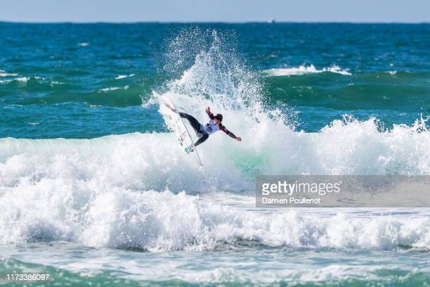 Peterson Crisanto of Brazil advances directly to Round 3 of the 2019 Quiksilver Pro France after winning Heat 11 of Round 1 at Le Culs Nus on October...