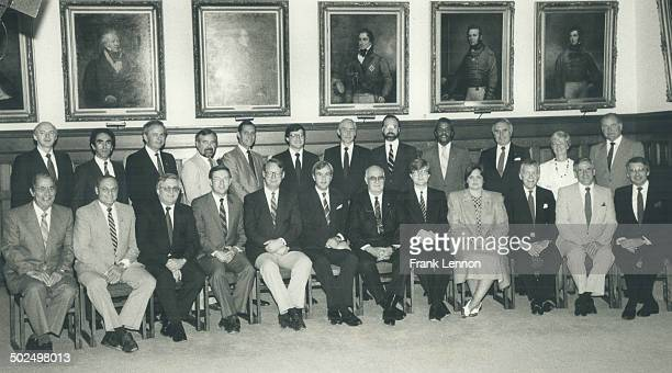 Peterson's cabinet Front row from left Vince Kerrio natural resources Jack Riddell agriculture Rene Fontaine northern affairs Jim Bradley environment...