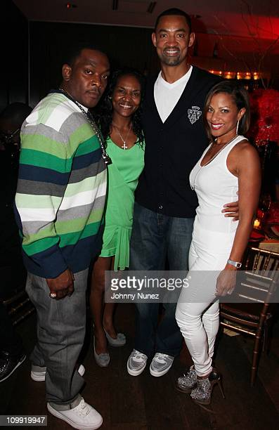 Petey Pablo Gloria James Juwan Howard and Jenine Howard attend Timbaland's birthday party at the Chop House on March 9 2011 in Miami Florida