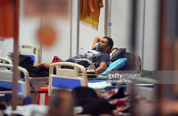 Petient rests at the Commonwealth Games Village Covid-19 Care Centre, on September 28, 2020 in New Delhi, India.