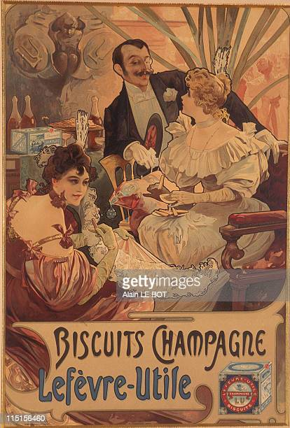 'Petit Beurre LU' Artistic Patrimoine Exhibition in Nantes France in June 1996 Biscuits Champagne by Alfons Mucha