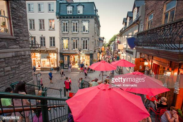 petit champlain district of old quebec city - old quebec stock pictures, royalty-free photos & images