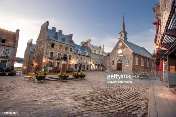 petit champlain district of old quebec city - quebec stock pictures, royalty-free photos & images