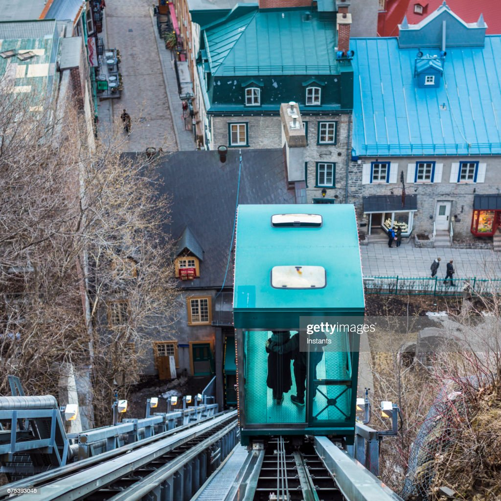 Petit Champlain, historic district of Old Quebec City, that can be accessed faster by using the funicular of Dufferin Promenade. : Stock Photo