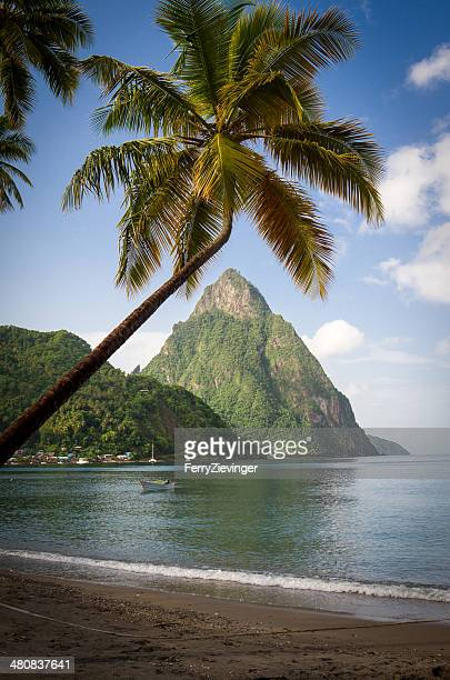 petit piton seen from soufriere bay, saint lucia, caribbean - st. lucia stock pictures, royalty-free photos & images
