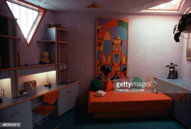 Petit salon ou chambre d'enfant de la Maison du Futur érigée par la Fondation Frank Lloyd Wright en Arizona et l'architecte Charles Schiffner en 1979...