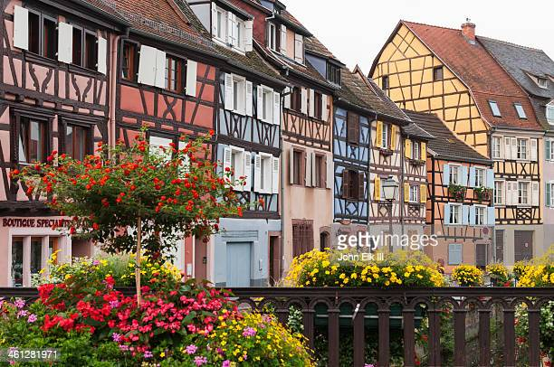 petit venise, half-timbered houses - colmar stock photos and pictures