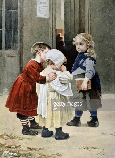 Petite fille pleurant en voyant sa grande soeur partir à l'école le jour de la rentrée des classes en France en 1890