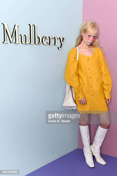 Petite Meller attends the Mulberry Winter '17 LFW show at The Old Billingsgate on February 19 2017 in London England