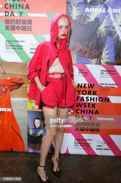 Petite Meller poses backstage for the Angel Chen show during New York Fashion Week The Shows at Industria Studios on September 10 2018 in New York...