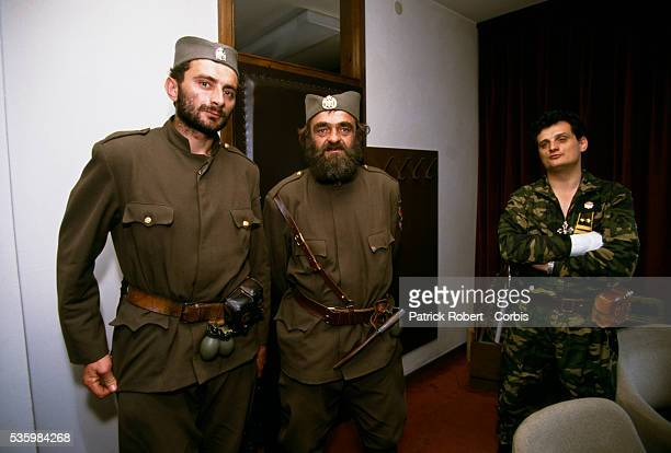 Petko Budisa Serb captain of Ilidza meets with two other military officers during the siege of Sarajevo Thousands of Bosnian and Serb civilians were...