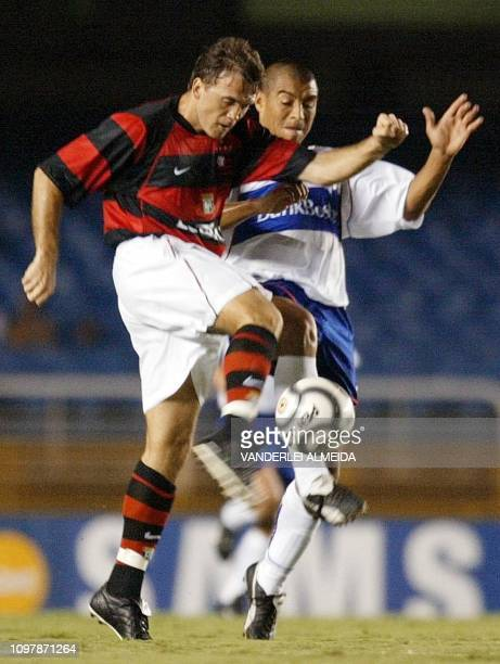 Petkovic fo Flamengo de Rio fights for the ball with chilean Ormazabal of the Catholic University during the Copa Libertadores de America in the...