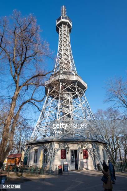 petřín lookout tower (petřínská rozhledna), prague, czech republic - vsojoy stock pictures, royalty-free photos & images