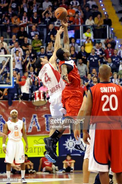 Petr Benda of CEZ Nymburk and Pervis Pasco of Lauretana Biella in action at the tipoff during the Eurocup Basketball Regular Season 20092010 Game Day...