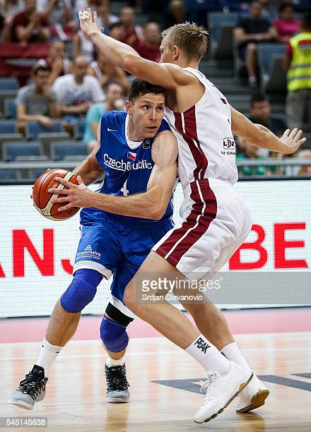 Petr Benda of Czech Republic in action against Mareks Mejeris of Latvia during the 2016 FIBA World Olympic Qualifying basketball Group B match...
