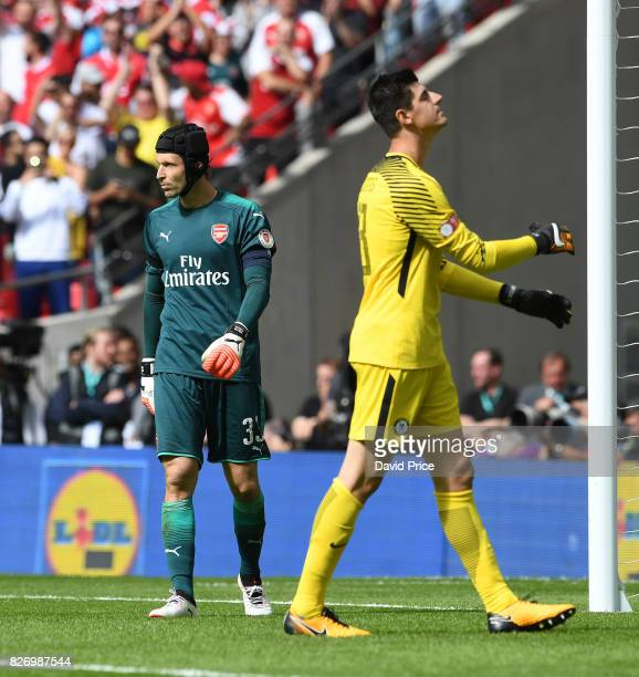 Petr Cach of Arsenal looks on as Thibaut Courtois of Chelsea reflects on his missed penalty during the match between Chelsea and Arsenal at Wembley...
