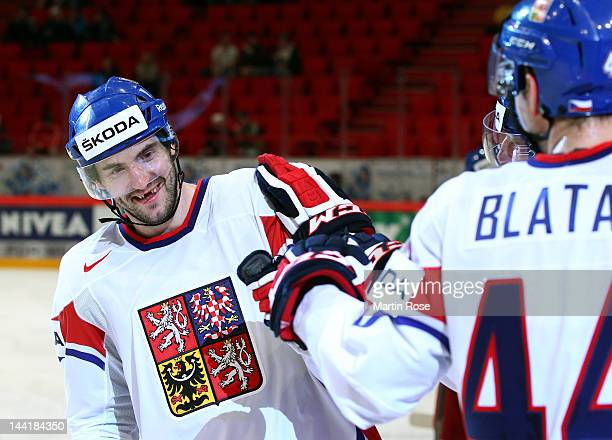 Petr Caslava of Czech Republic celebrate with his team mates during the IIHF World Championship group S match between Italy and Czech Republic at...