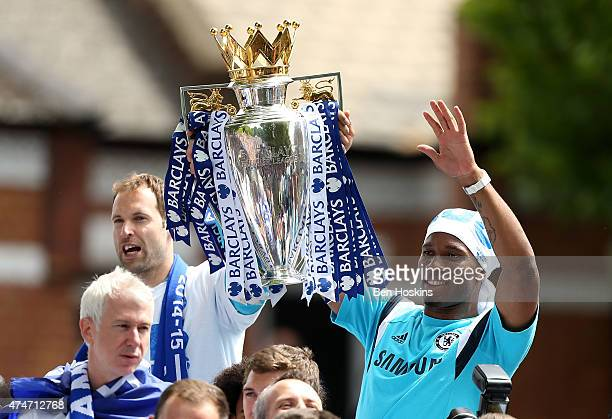 Petr Cech and Didier Drogba of Chelsea lift the premier league trophy duing the Chelsea FC Premier League Victory Parade on May 25 2015 in London...