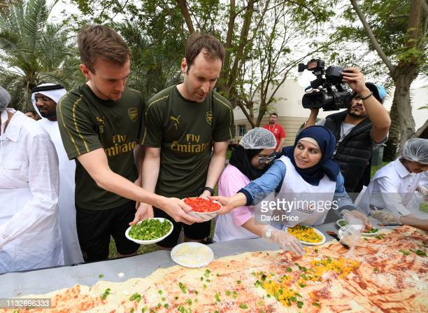 Petr Cech and Rob Holding of Arsenal during a visit to the Rashid Centre for The Determined Ones on March 25 2019 in Dubai United Arab Emirates