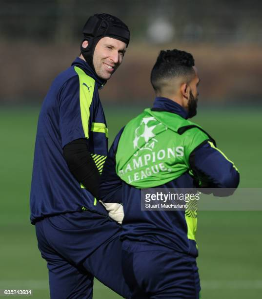 Petr Cech and Theo Walcott of Arsenal during a training session at London Colney on February 13, 2017 in St Albans, England.