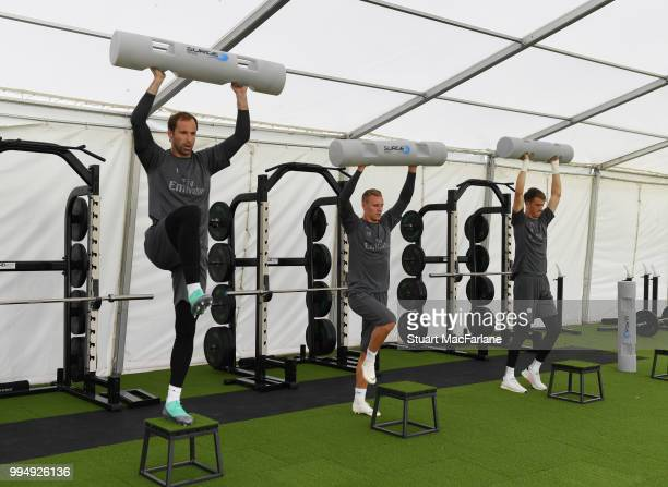 Petr Cech Bernd Leno and Matt Macey of Arsenal warm up during a training session at London Colney on July 9 2018 in St Albans England