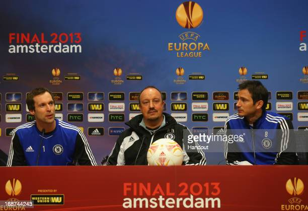 Petr Cech, Chelsea Interim Manager Rafael Benitez and Frank Lampard of Chelsea look on during a Chelsea press conference ahead of the UEFA Europa...