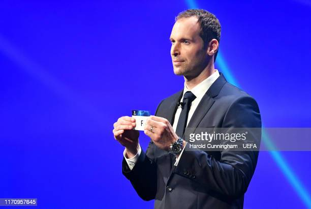 Petr Cech draws out Group F during the UEFA Champions League Draw, part of the UEFA European Club Football Season Kick-Off 2019/2020 at Salle des...