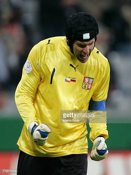Petr Cech goalkeeper of Czech Republic celebrates after the UEFA Euro2008 Group D qualifying match between Germany and Czech Republic at the Allianz...