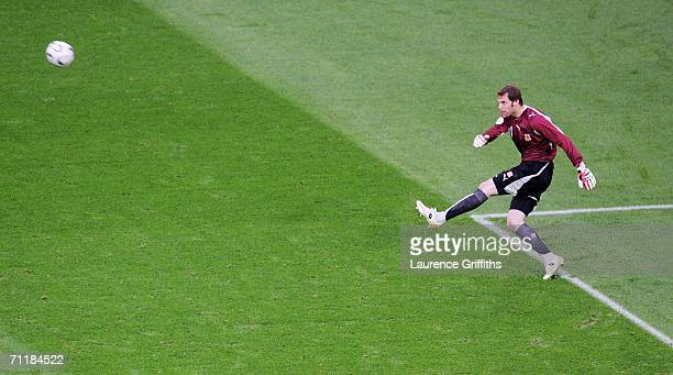 Petr Cech goalkeeper of Czech Republic takes a goal kick during the FIFA World Cup Germany 2006 Group E match between USA and Czech Republic at the...