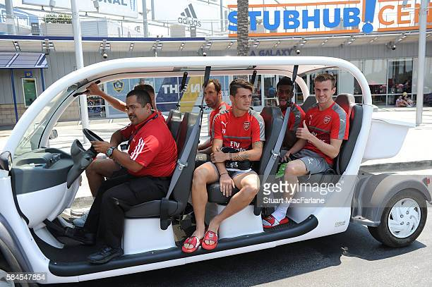 Petr Cech Granit Xhaka Alex Iwobi and Rob Holding of Arsenal after a training session at the Stubhub Centre on July 29 2016 in Los Angeles California