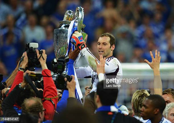 Petr Cech lifts the trophy in celebration after their victory in the UEFA Champions League Final between FC Bayern Muenchen and Chelsea at the...