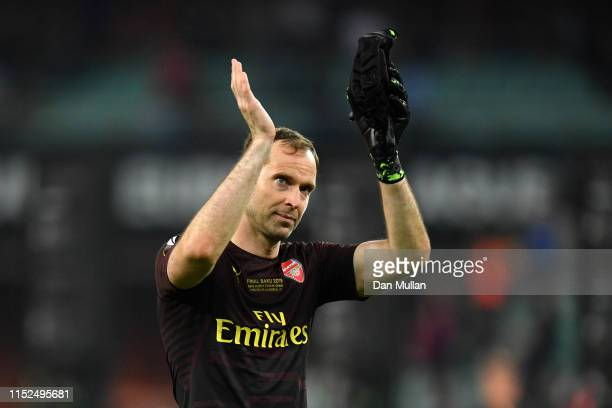 Petr Cech of Arsenal acknowledges the fans after the UEFA Europa League Final between Chelsea and Arsenal at Baku Olimpiya Stadionu on May 29 2019 in...