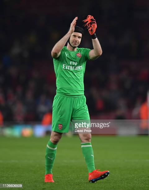Petr Cech of Arsenal after the UEFA Europa League Round of 32 Second Leg match between Arsenal and BATE Borisov at Emirates Stadium on February 20...