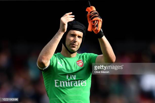 Petr Cech of Arsenal applauds fans after the Premier League match between Arsenal FC and West Ham United at Emirates Stadium on August 25 2018 in...