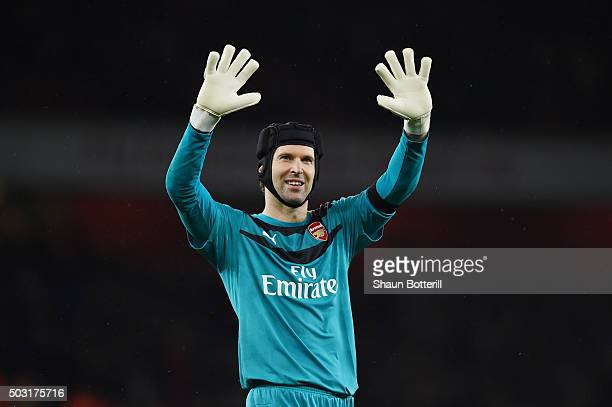 Petr Cech of Arsenal applauds the supporters after the Barclays Premier League match between Arsenal and Newcastle United at Emirates Stadium on...