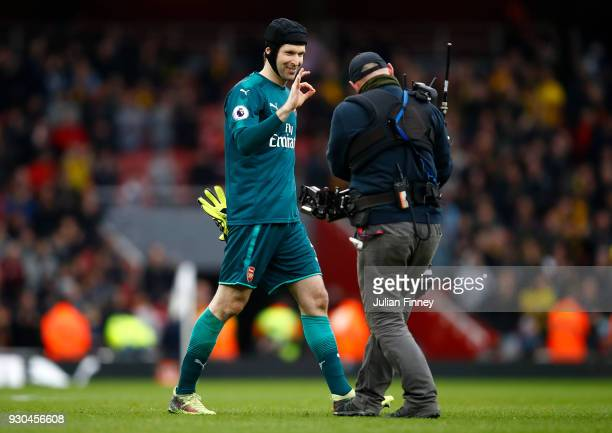Petr Cech of Arsenal celebrates after the Premier League match between Arsenal and Watford at Emirates Stadium on March 11 2018 in London England...