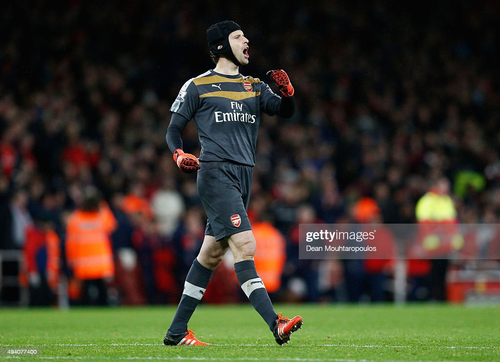 Petr Cech of Arsenal celebrates his team's 2-1 win in the Barclays Premier League match between Arsenal and Everton at Emirates Stadium on October 24, 2015 in London, England.
