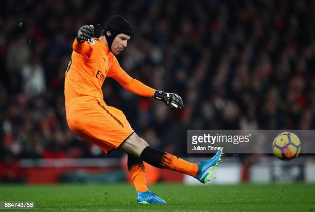 Petr Cech of Arsenal clears the ball during the Premier League match between Arsenal and Manchester United at Emirates Stadium on December 2 2017 in...